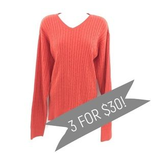IZOD Textured Sweater Orange Cable Knit Size Med